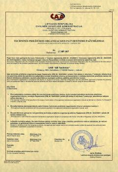 Maintenance organization approval certificate 1
